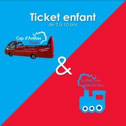Offre combiné  Enfant  Le Petit Train d'Antibes + Bus Cap d'Antibes Tour